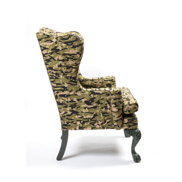 Wing Chair in Fortuny Fabric For Sale - Image 4 of 7