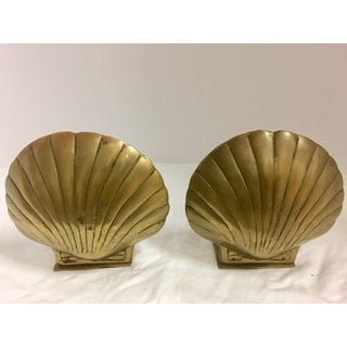 Vintage Brass Shell Bookends - A Pair Preview
