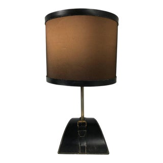 Stitched Leather Table Lamp by Jacques Adnet