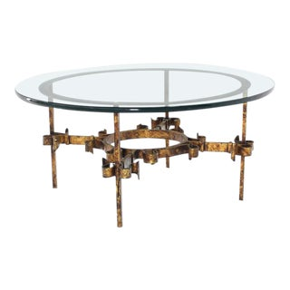 Mid Century Vintage Gilded Wrought Iron Base Round Coffee Table For Sale