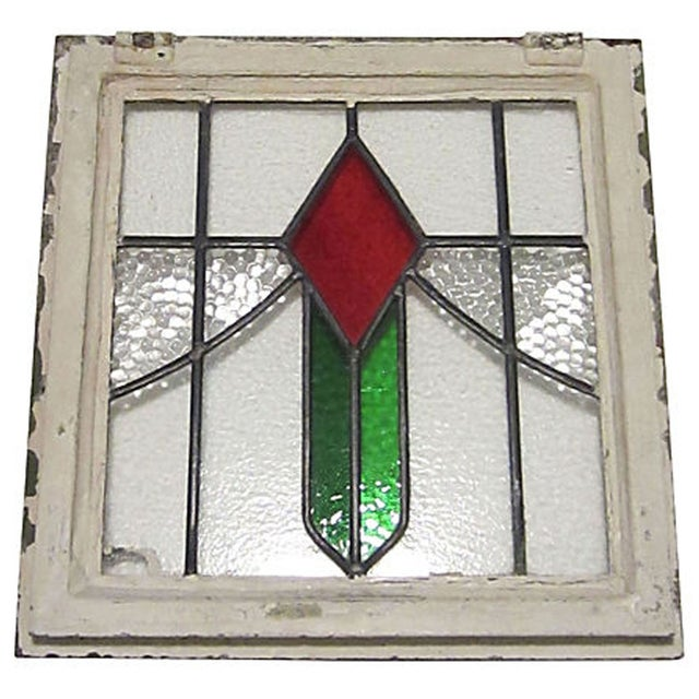 English Cottage Stained Glass Window For Sale - Image 5 of 6