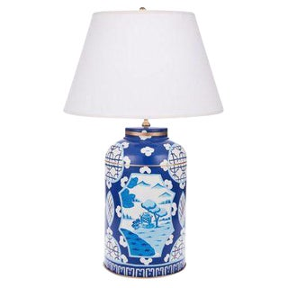 Dana Gibson Canton Blue Tea Caddy Lamp For Sale