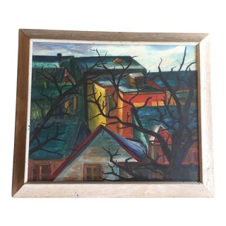 Original Vintage Modernist Coastal Town Painting For Sale
