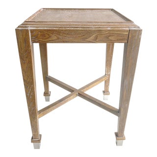 Limed Oak Washed New Square Side Table For Sale