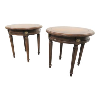 Louis XVI Style Cherry Taboret Tables -a Pair