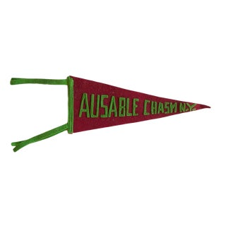 Vintage Ausable Chasm Ny Felt Flag Pennant For Sale