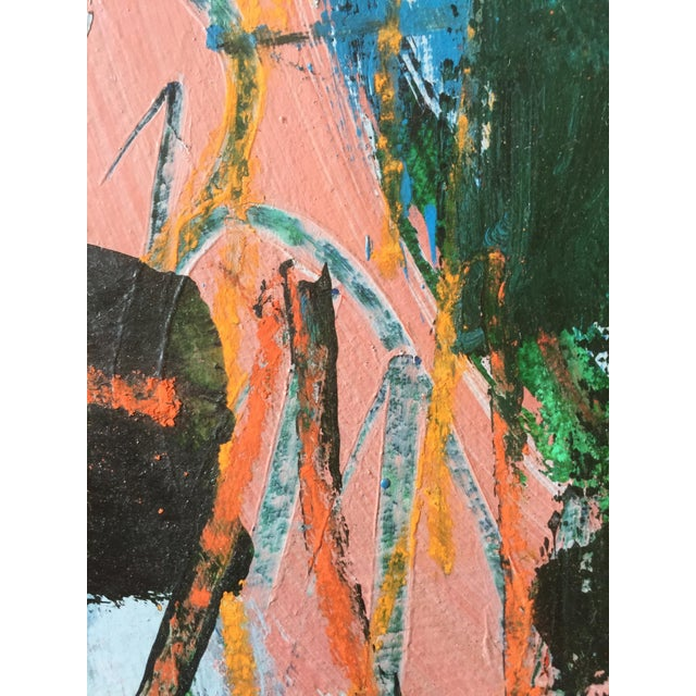 1970s Berkeley Artist Vannie Keightly Mixed Media Abstract Painting - Image 8 of 8