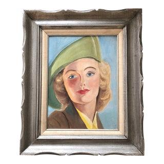 Vintage Original Female Portrait Painting Mid Century For Sale