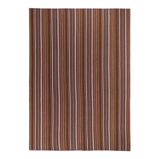 Modern Turkish Kilim Rug With Brown, Gray & White Stripes For Sale