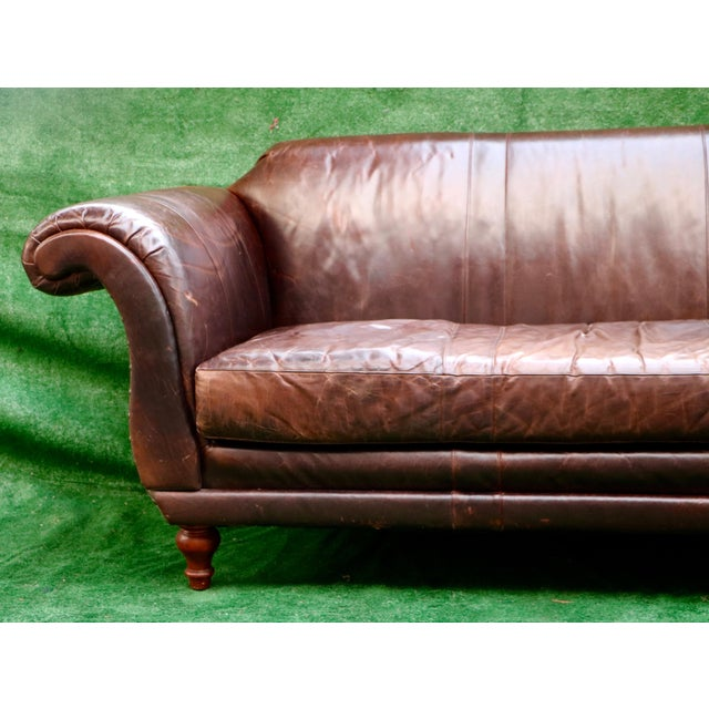 Vanguard Furniture Americana Brown Leather Sofa For Sale - Image 5 of 11