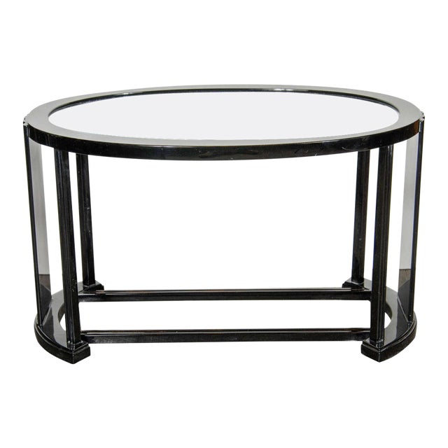 Art Deco Bauhaus Style Cocktail or Occasional Table in Black Lacquer and Glass For Sale