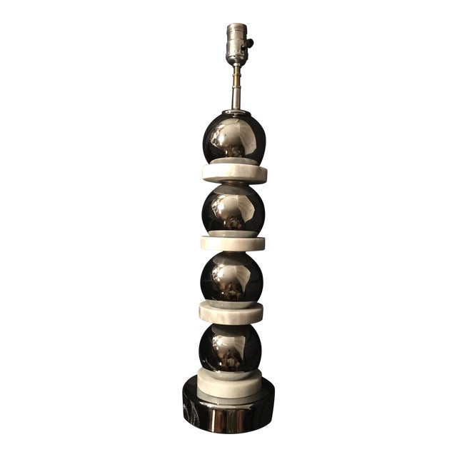 Chrome Ball and Stacked Carrera Marble Table Lamp - Image 1 of 8