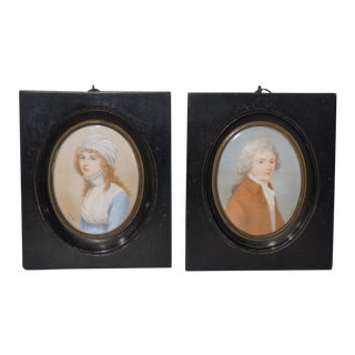 Pair of Mid 19th Century American Portrait Miniatures by Cosway For Sale
