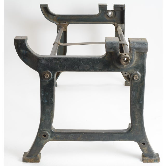 Industrial Iron and Wood Worktable From France - Image 5 of 8