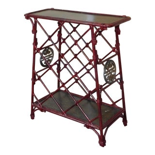 Maitland Smith Red Painted Iron Asian Inspired Occasional Wine Rack Table C1990s For Sale