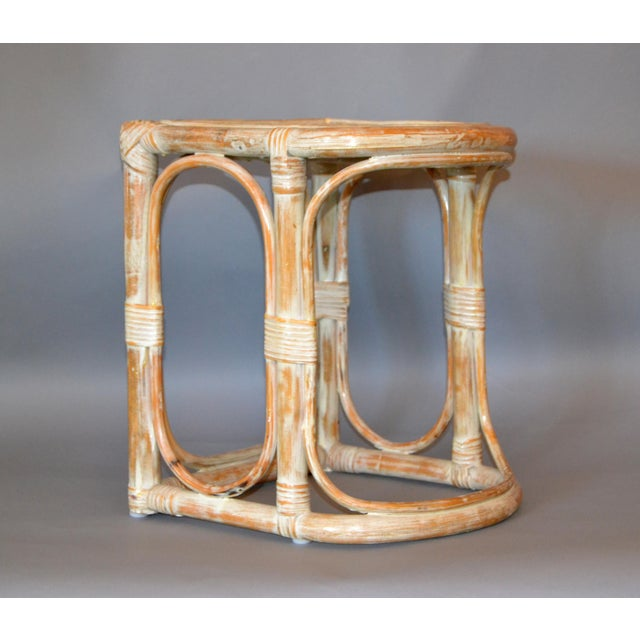 Vintage Bamboo & Cane White Washed Side Table, End Table For Sale - Image 9 of 10