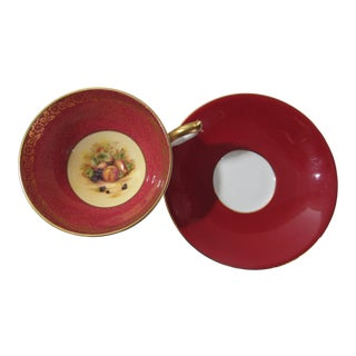 Ansley English Bone China Red & Fruit Pattern Cup & Saucer For Sale