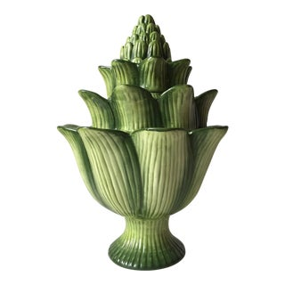 Artichoke Tulipiere-Hand Painted For Sale
