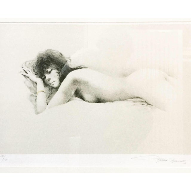 """This print shows a nude female lying on her stomach. Gorgeous Original Framed Maher Morcos """"Nude I"""" Signed and Numbered..."""