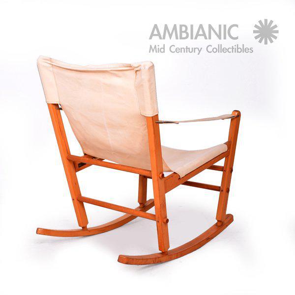 Mid-Century Modern Safari Chair Rocker For Sale In San Diego - Image 6 of 9