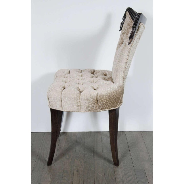 1940s Hollywood Regency Draped Chair by Grosfeld House in Ebonized Walnut For Sale In New York - Image 6 of 8