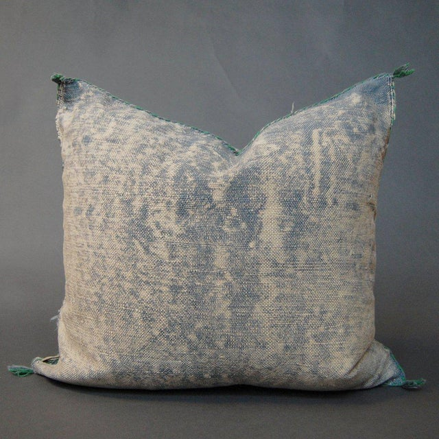 Islamic Denim Demon' Moroccan Sabra Silk Pillow For Sale - Image 3 of 3