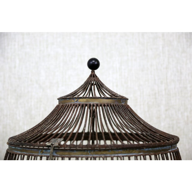 Copper Vintage Pagoda Bird Cage For Sale - Image 8 of 11