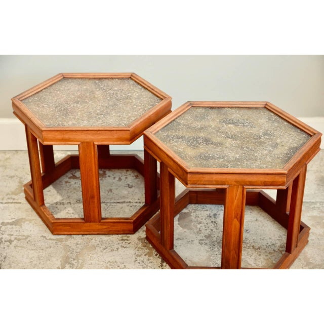 Art Glass John Keal for Brown Saltman Hexagonal Side Tables - a Pair For Sale - Image 7 of 8