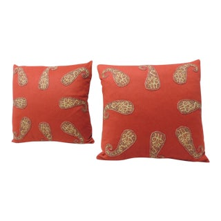 Pair of Red Paisley Applique Decorative Pillows For Sale