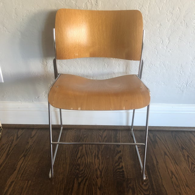 Tan 1980s Vintage David Rowland Molded Beech Wood Stackable Chairs -Set of 3 For Sale - Image 8 of 13