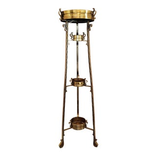 Late Victorian Gilt Brass Four Tier Plant Stand Etagere For Sale