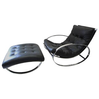 Renato Zevi Ellipse Rocking Chair and Ottoman For Sale