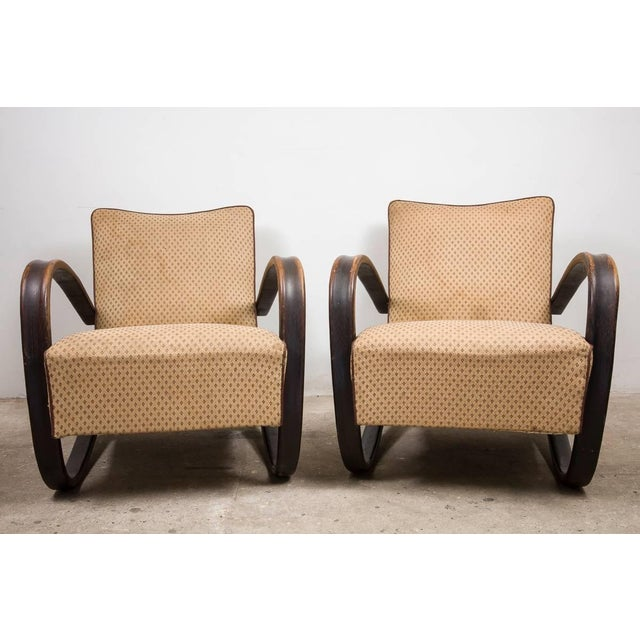 Pair of Art Deco lacquered bentwood lounge armchairs in original condition, very good and stabile construction, distressed...