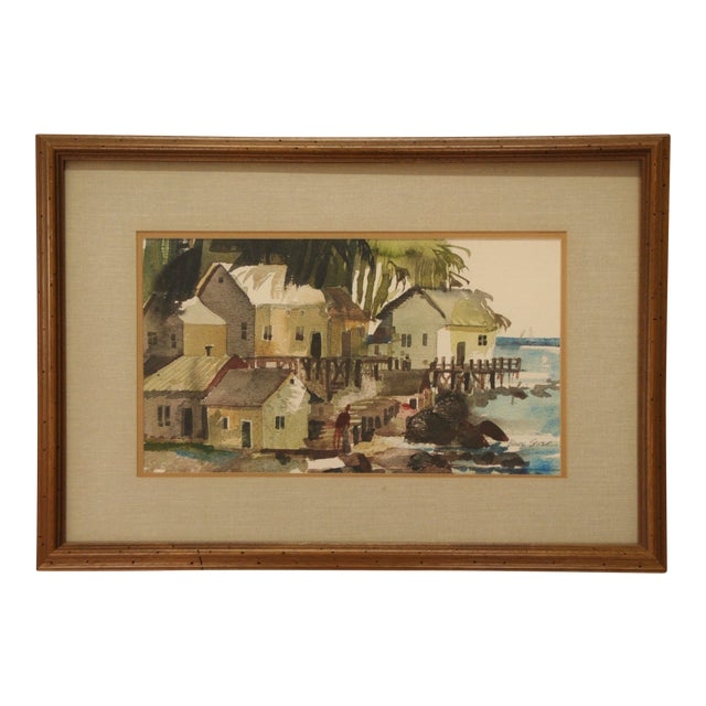 Original Bruce Spicer Vintage Coastal Watercolor Painting - Image 1 of 9