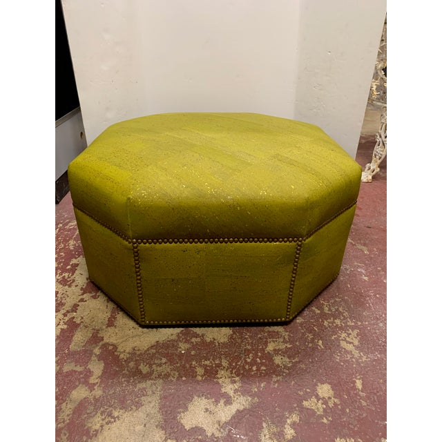 2000 - 2009 Custom Made Green and Gold Octagonal Ottoman For Sale - Image 5 of 5