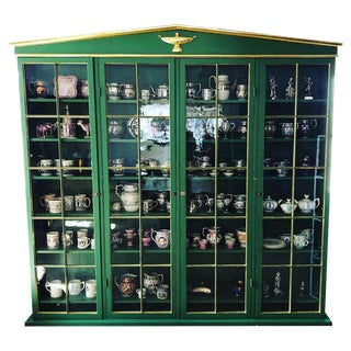 Neoclassical Style Green Painted and Parcel Gilt Breakfront Bookcase For Sale
