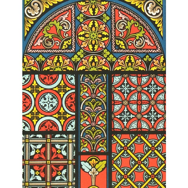 Intricate color lithograph depicting the interlocking floral and geometric designs of the Middle Ages circa 1890....