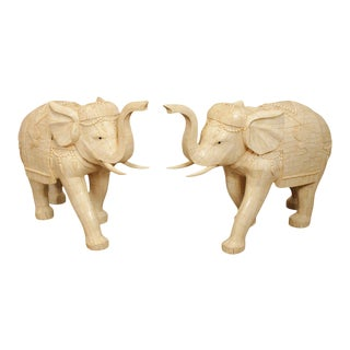 Vintage Tessellated Carved Bone Chinese Elephant Statues - a Pair For Sale