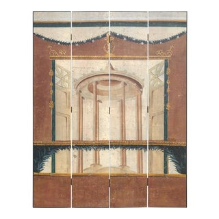 Italian Neoclassical Painted Screen with Pompeiian Fresco For Sale