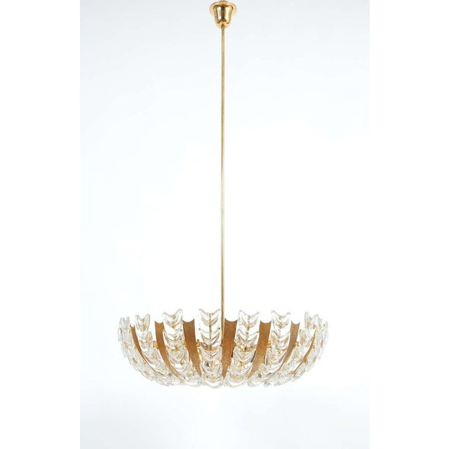 Palwa Large Gold Brass and Glass Chandelier Lamp, 1960 For Sale - Image 9 of 10