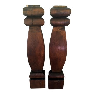 Wood Columns - a Pair For Sale