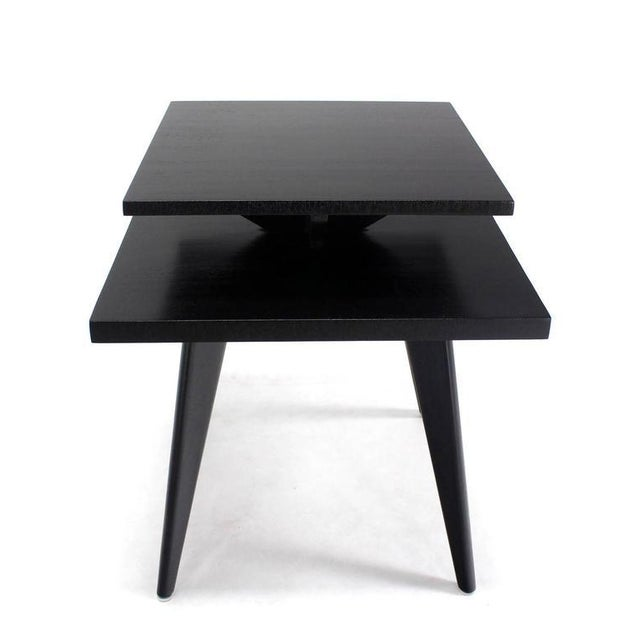 Pair of Black Lacquer Square Step Side Tables on Tapered Legs For Sale In New York - Image 6 of 8