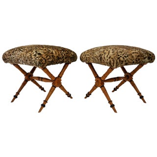 Pair of Biedermeier Style X-Stools with Faux Fur Upholstery For Sale