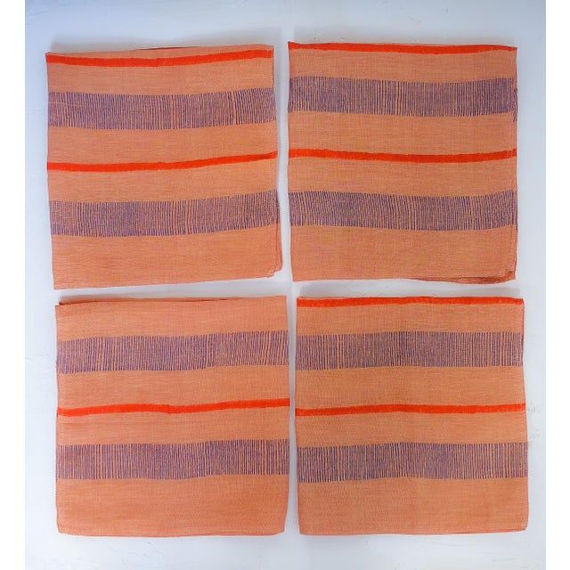 Textile Indu Handwoven & Block-Printed Terracotta Table Napkins - Set of 4 For Sale - Image 7 of 7