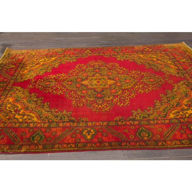 Vintage hand-knotted Persian Overdye rug with a medallion design. This piece piece has magnificent detailing and would be...