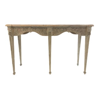Currey & Co. Transitional Rochette Carved Greige Wood Console Table For Sale