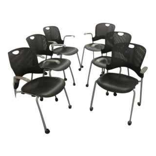 Herman Miller Caper Black Stacking Chairs - Set of 6