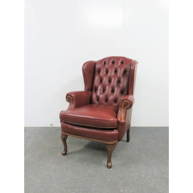 Animal Skin Hickory LeatherTufted Queen Anne Style Wing Chair For Sale - Image 7 of 7