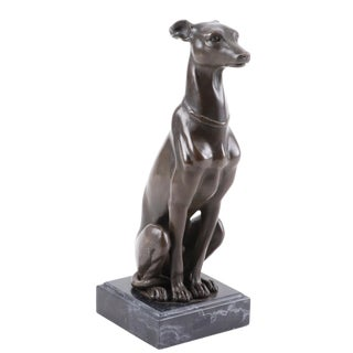 Antoine-Louis Barye French Art Deco Whippet or Greyhound Dog Sculpture For Sale