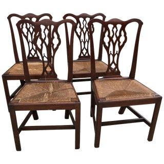 American Chippendale Walnut Side Chairs, Slip Rush Seats, Circa 1770 - Set of 4 For Sale